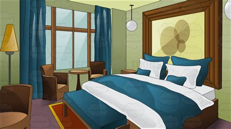 Bed In Room A Fancy Hotel Room With King Size Bed Vector Clip