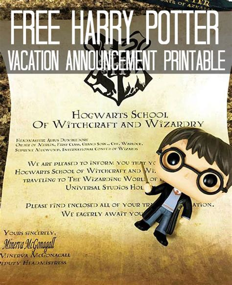 printable tickets universal studios orlando free harry potter vacation announcement printable for