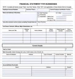 sample business financial statement form 9 download