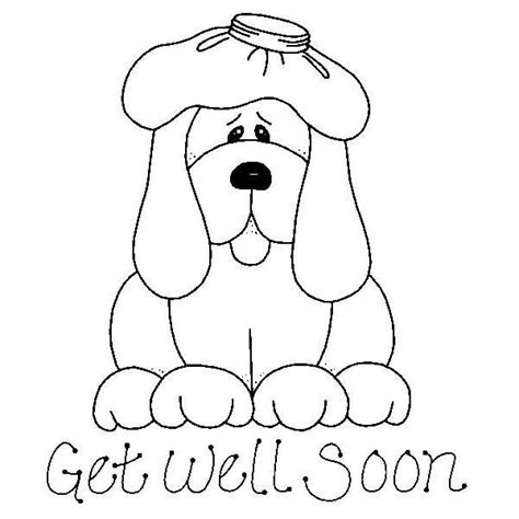 get well soon colouring card template get well soon coloring pages puppy coloringstar