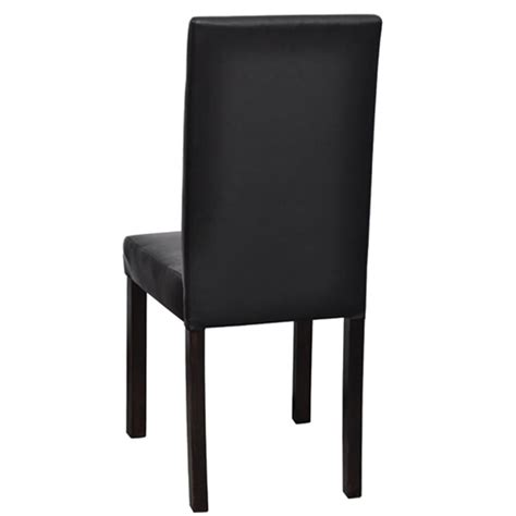 Black Wooden Dining Chairs 4 Modern Artificial Leather Wooden Dining Chair Black Vidaxl
