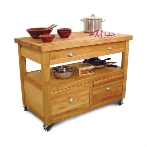 kitchen island with butcher block chania
