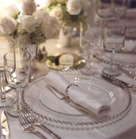 silver place settings white and silver wedding theme weddings romantique