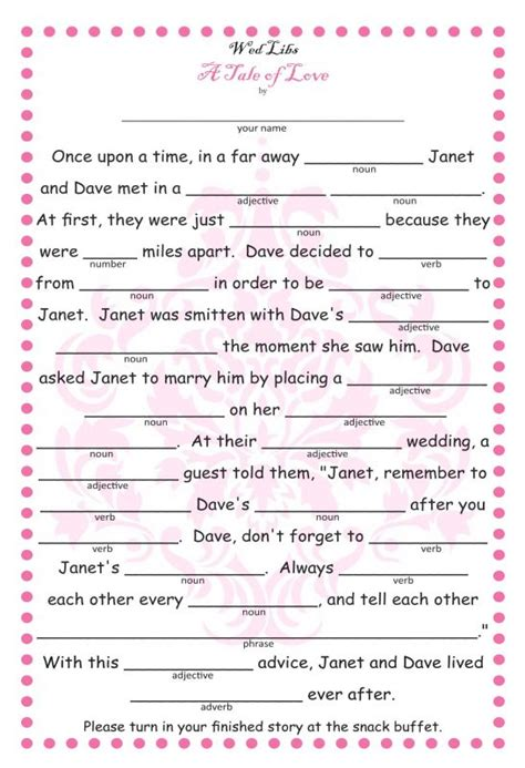 wedding mad libs template free 9 best images of blank printable wedding mad libs