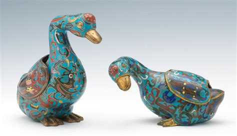 Paper Bird Sculpture two chinese archaic style cloisonne ducks ca 1920 s 03