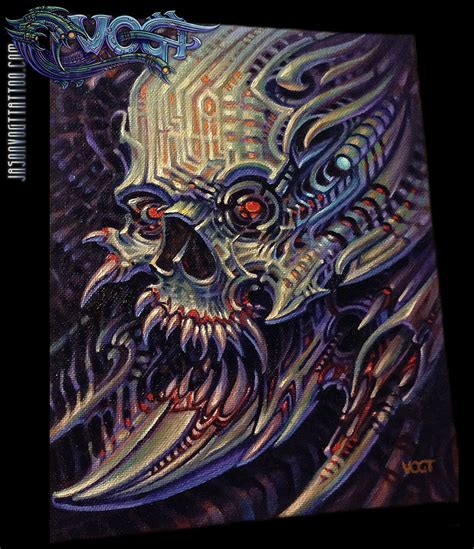 biomechanical tattoo artists ta jasonvogttattoo bioskull oil on canvas sold art biomech