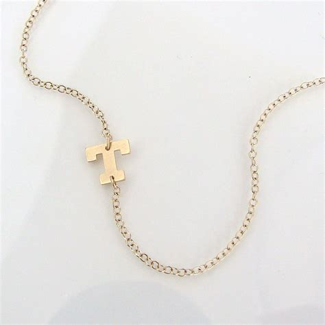 sideways initial necklace 14k solid gold initial 14k