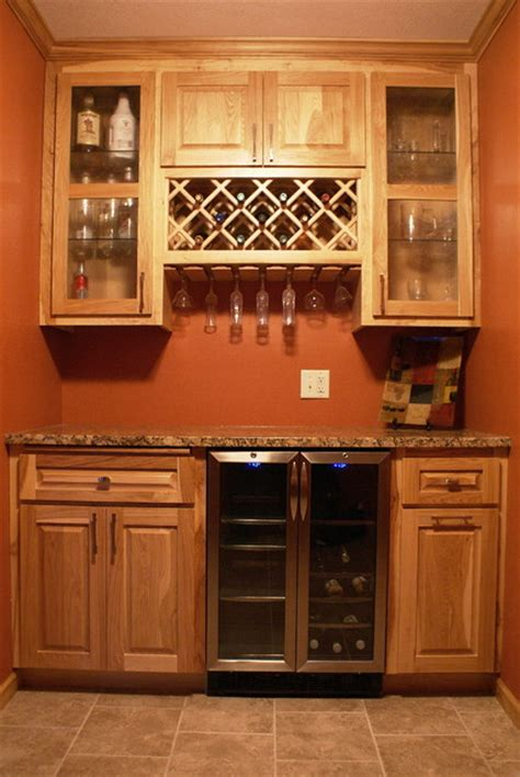 wine kitchen cabinet hickory bar