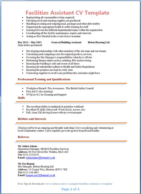 Good Skills For A Job Resume by Facilities Assistant Cv Example Preview Page 2