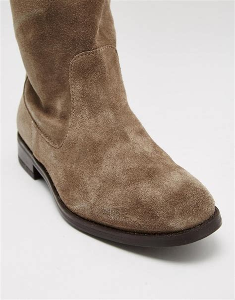 aldo barra taupe suede flat the knee boots in