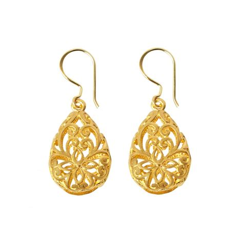 filigree drop earrings gold plated