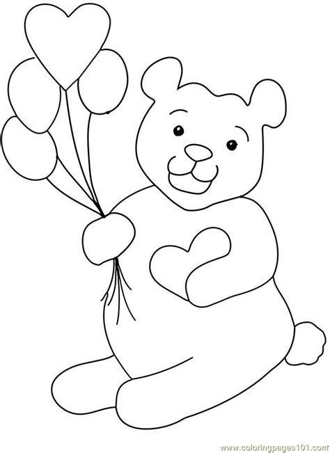 coloring pages teddy bear valentine heart balloon