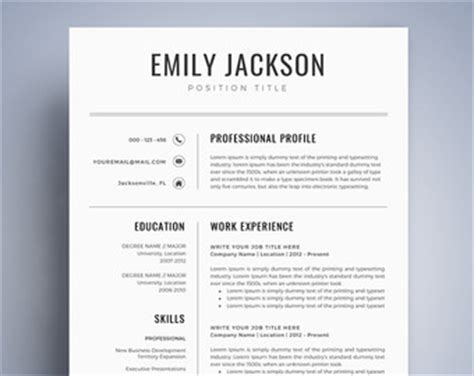 Best Resume Templates Etsy by Resume Template Etsy