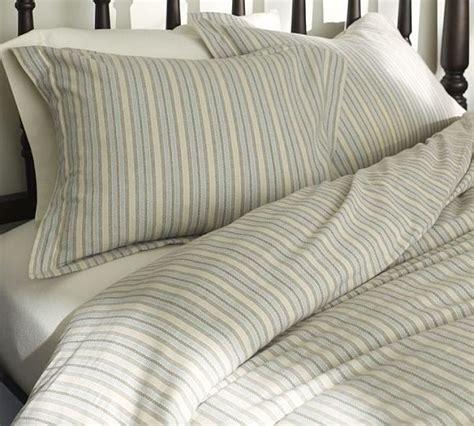 Organic Flannel Duvet Cover chamber stripe organic flannel duvet cover sham 1 decoist