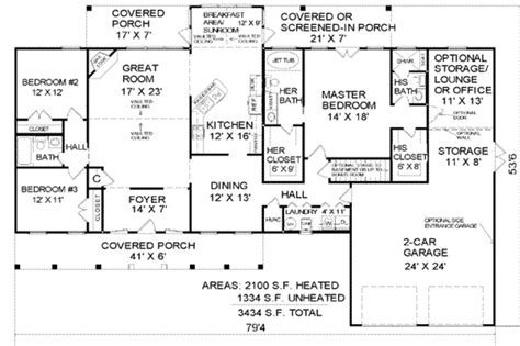 Country Style House Plan 3 Beds 3 Baths 2100 Sq Ft Plan 2100 Sq Ft 4 Bedroom House Plans