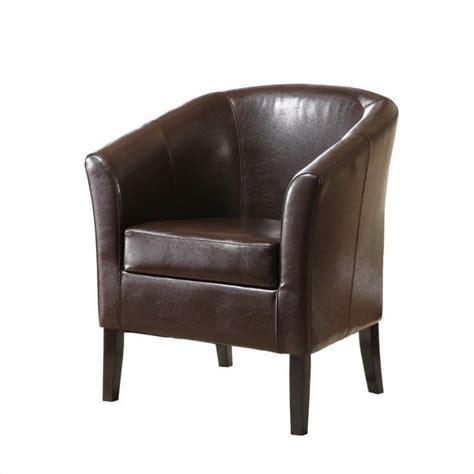 club armchair faux leather barrel club chair in brown 36077brn 01 as u