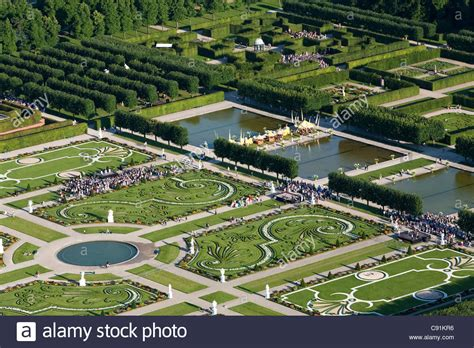 aerial view of a small fete in the garden of herrenhausen