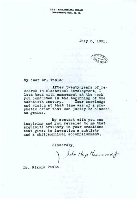 Tesla Letter View More Letters To Nikola Tesla