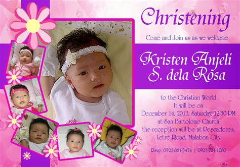 layout design for baptismal invitation otep s portfolio christening invitation card design 01