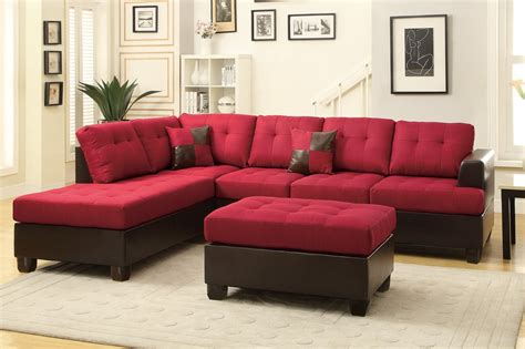 red sectional poundex moss f7601 red fabric sectional sofa and ottoman