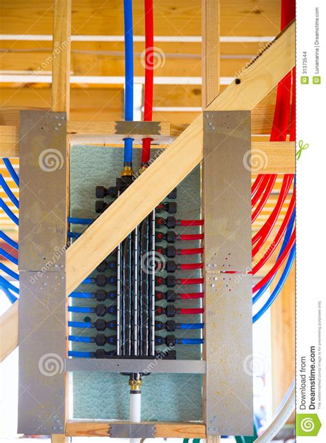 Pex Plumbing Manifold Systems by Plumbing Manifold System Pex Tubing Stock Images Image