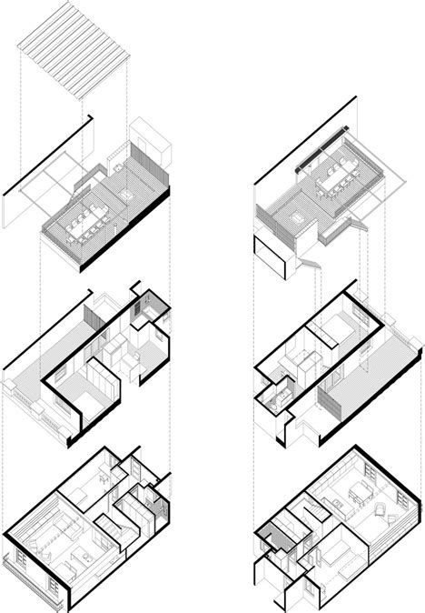 exploded floor plan barcelona apartment by bach arquitectes with encaustic