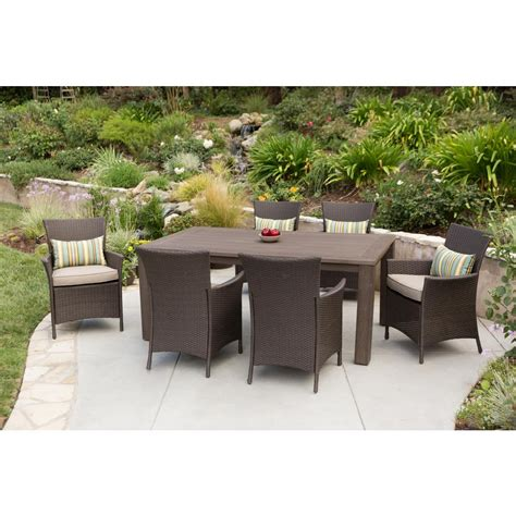 Premium 7 Piece Wicker Outdoor Dining Set Beige Cushions Outdoor Patio Dining Sets