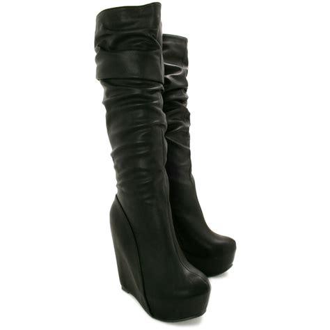 new womens wedge heel concealed platform knee high slouch
