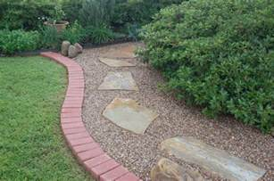 pea gravel patio bricks around perimeter combination of