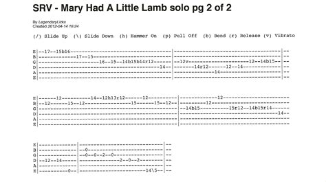 stevie ray vaughan mary    lamb solo    guitar tab rick mccargars