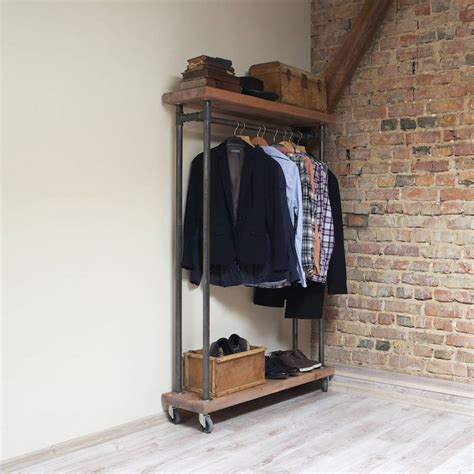 woodworking clothing industrial style reclaimed wood clothes rail by cosywood