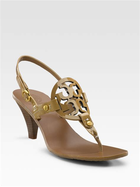 burch sandals burch logo sandals in brown lyst