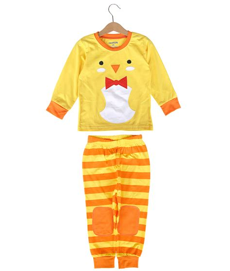 Baju Setelan Cutetime Set Yellow Stripe Story animal pajama yellow chicken size 5t 6t 7t kicau kecil