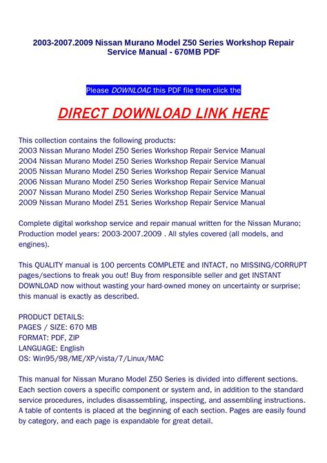 nissan murano repair manual 2003 2011 2003 2007 2009 nissan murano model z50 series workshop repair service manual 670mb pdf by jenny