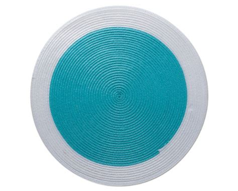 Turquoise Place Mats by Woven White Rimmed Turquoise Placemat