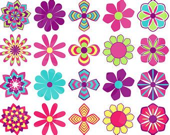 printable little flowers clipart flower etsy