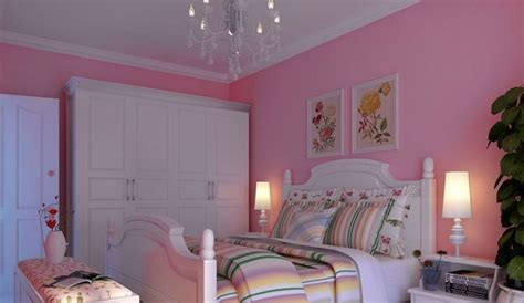 korean rural style pink bedroom with white furniture