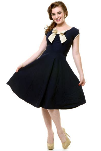 swing klamotten 168 stop staring 1930s style navy ivory railene dress
