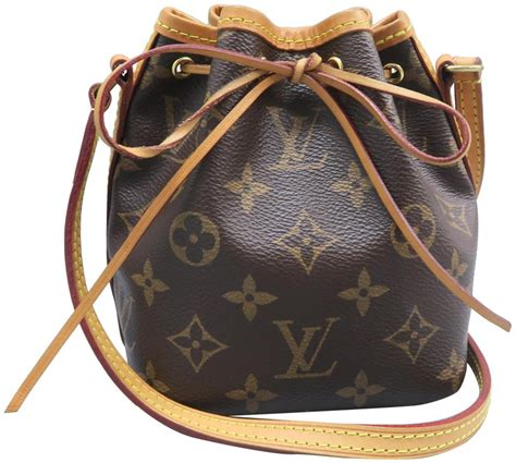 louis vuitton noelie noe nano brown monogram canvas cross