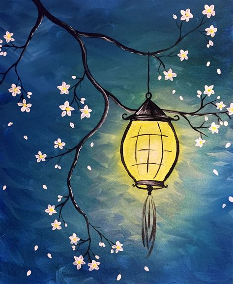 Easy Paintings by Lantern Blossom Alyson Mccrink Paint Nite Paintings