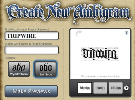 name tattoo generator from tripwire magazine dot an article on 50 ambigram