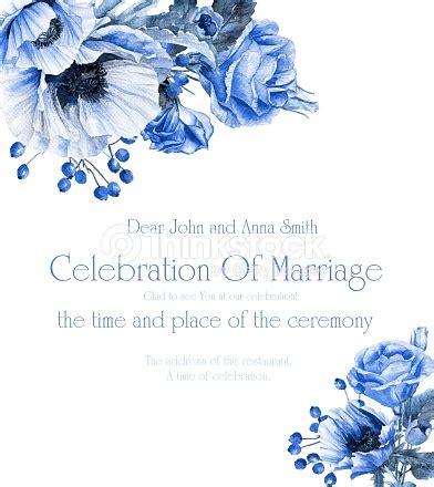wedding invitation  blue floral corner frames stock