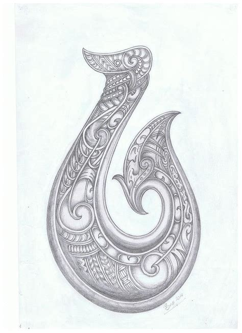 hei matau fish hook drawing by bino smith