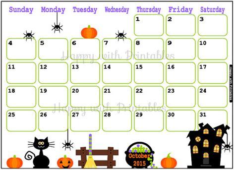 printable calendar 2015 halloween 6 best images of cute calendar 2015 printable october