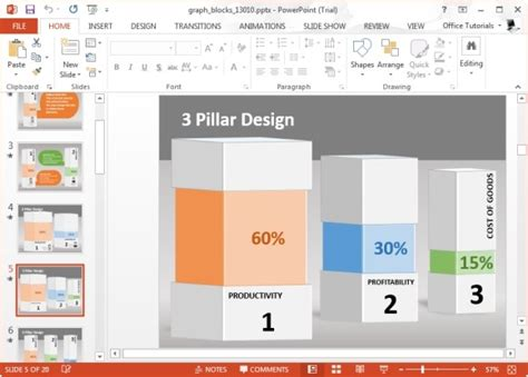 Animated Graph Blocks Template For Powerpoint Powerpoint Graph Templates