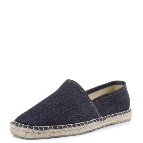 mens replay targhet navy blue denim espadrille slip on