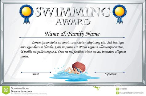 swimming award certificate template all templates deal