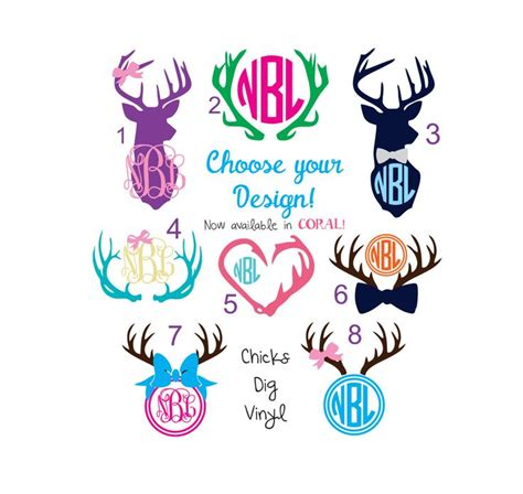 monogram ideas deer monogram vinyl decals choose your design by