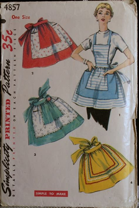 pattern vintage apron vintage 50s apron pattern simplicity 4857