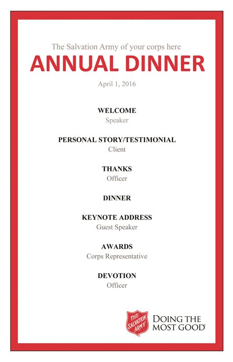 annual dinner resources the salvation army - Dinner Program